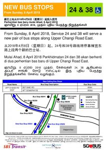 New Bus Stops for Bus Services 24 & 38 along Upper Changi Rd East