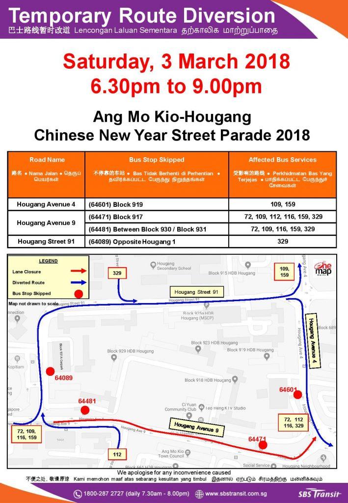 SBS Transit Route Diversion Poster for Ang Mo Kio-Hougang Chinese New Year Street Parade 2018