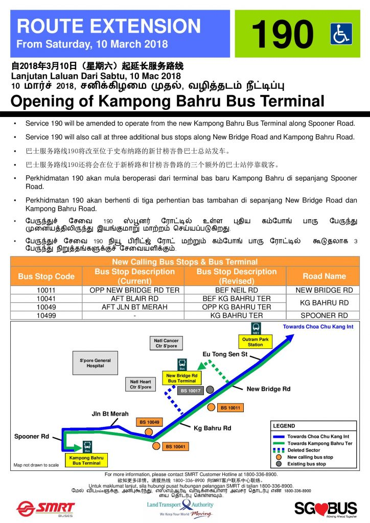 Route Extension to Kampong Bahru Bus Terminal - Service 190 Poster