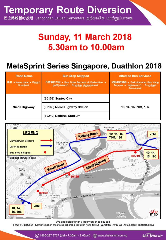SBS Transit Bus Diversion Poster for MetaSprint Series Singapore, Duathlon 2018