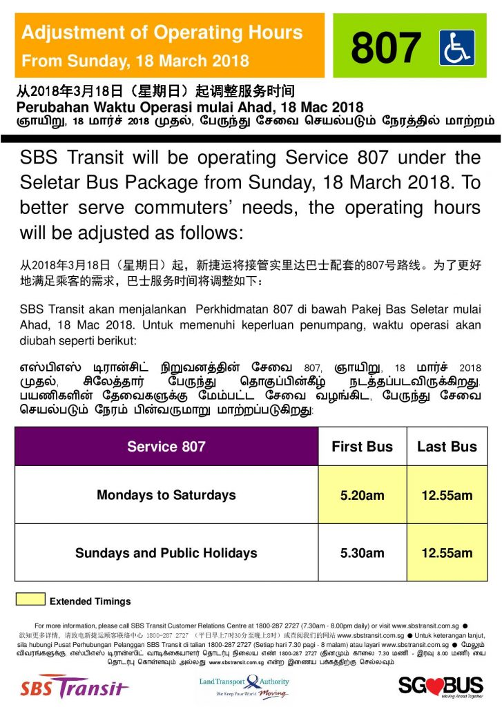 Extension of Operating Hours for Bus Service 807