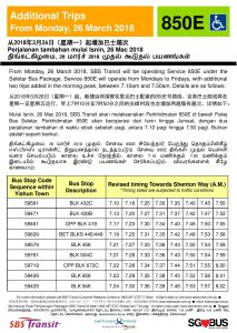 Additional trips for Service 850E from 26 March 2018