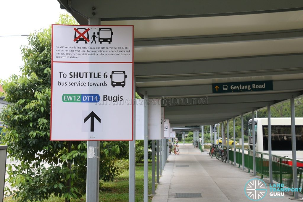 Shuttle 6 Direction Signs at Kallang