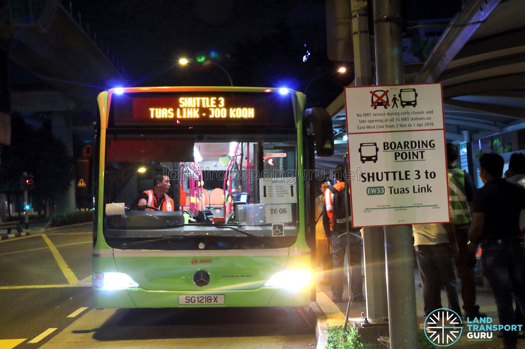 Shuttle 3 pick-up point at Joo Koon