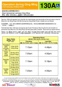 Operating Days for Bus Service 130A during the 2018 Qing Ming period