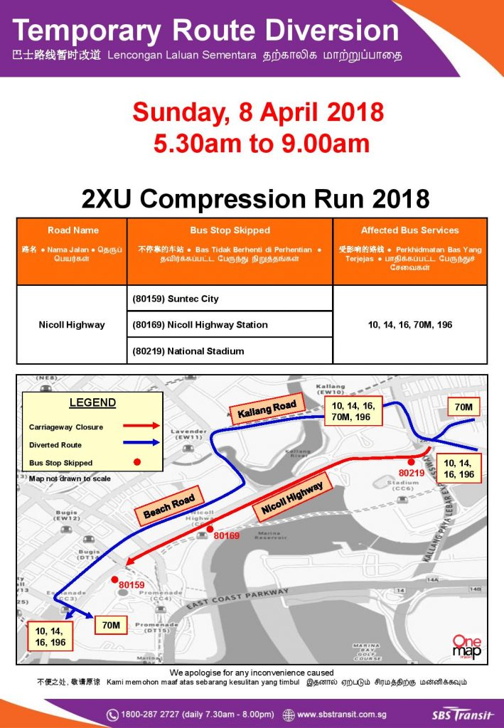 SBS Transit Route Diversion poster for 2XU Compression Run 2018