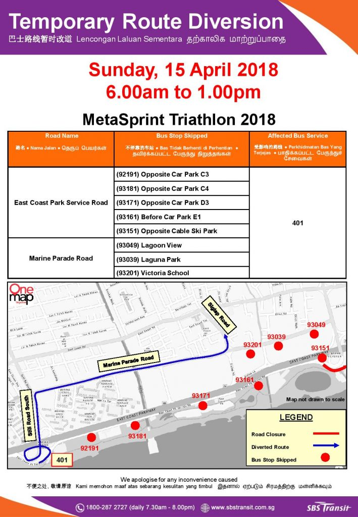 Bus Diversion Poster for MetaSprint Triathlon 2018