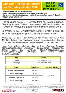 SBS Transit Poster for Extension of Last Bus Timings during NSL Early Closure in May 2018