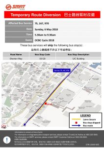 SMRT Buses Bus Diversion Poster for OCBC Cycle 2018