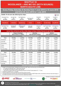 Shuttle 10 (Woodlands – Ang Mo Kio) Departure Timings from Stations