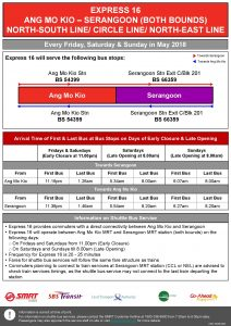 Express 16 (Ang Mo Kio – Serangoon) Departure Timings from Stations (Poster updated on 3 May)