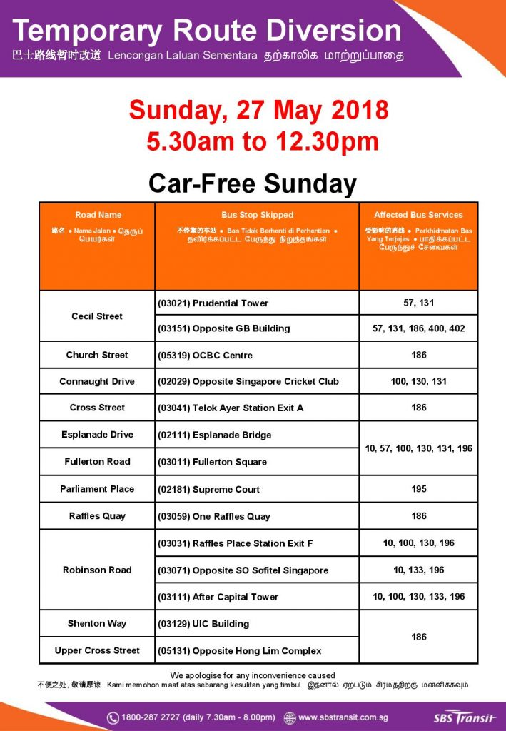 SBS Transit Poster for Car Free Sunday (27 May 2018)