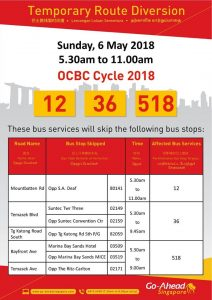 Go-Ahead Bus Diversion Poster for OCBC Cycle 2018