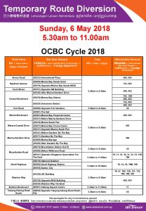 SBS Transit Bus Diversion Poster for OCBC Cycle 2018