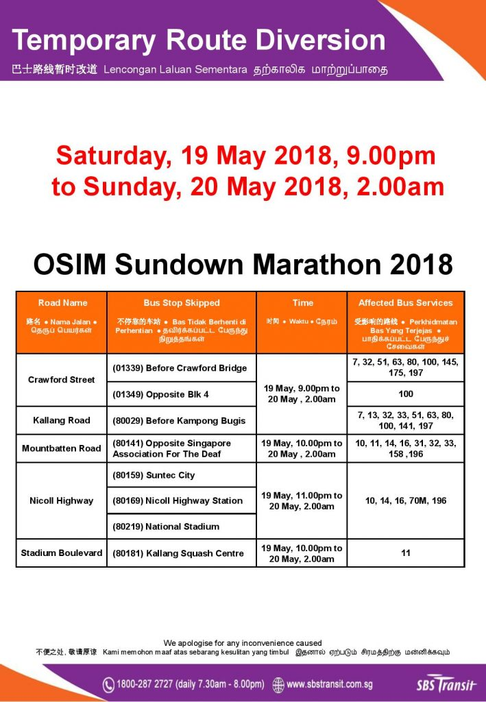 SBS Transit Poster for OSIM Sundown Marathon 2018