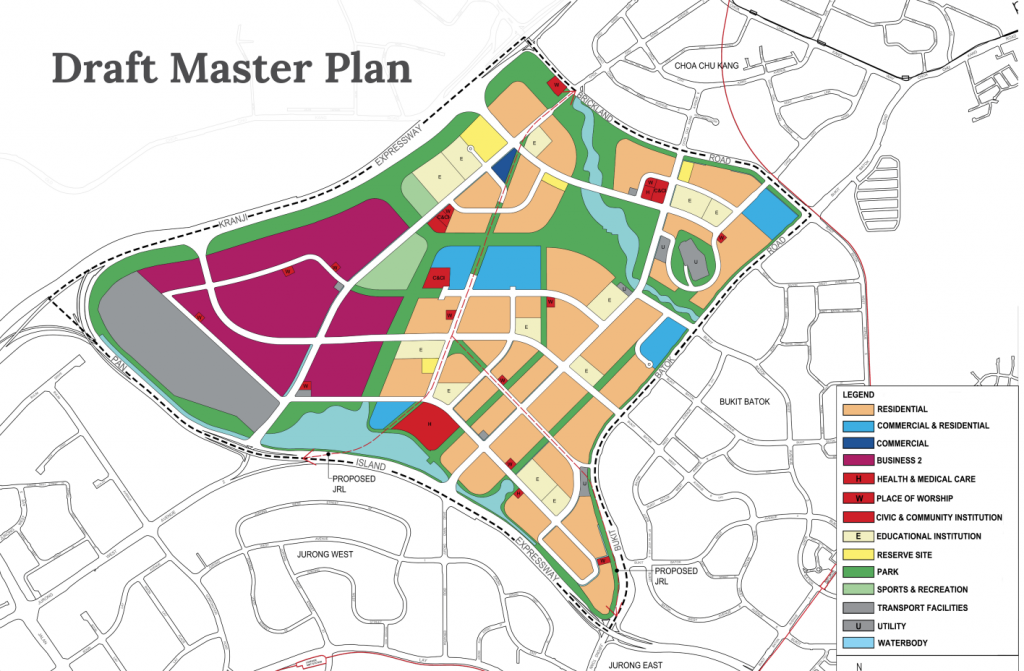 Draft Master Plan of Tengah estate with land reserved for Tengah Depot market out in grey (Image: HDB)