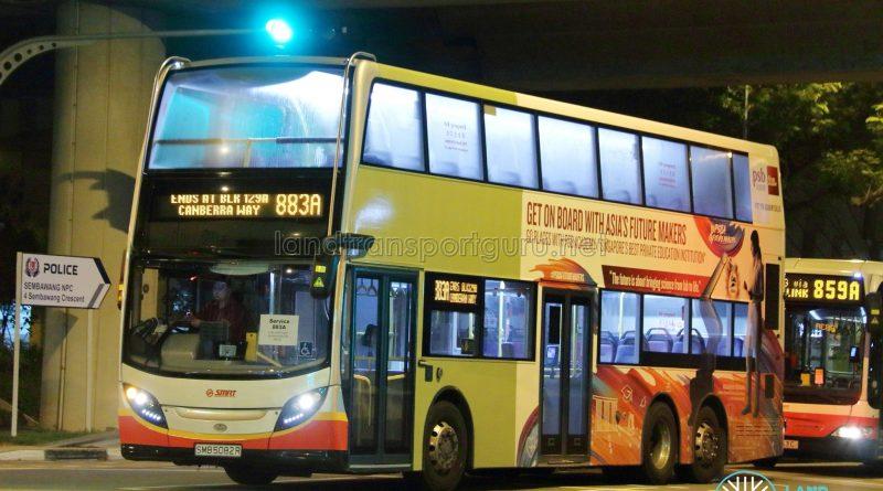 Service 883A - SMRT Buses Alexander Dennis Enviro500 (SMB5082R)