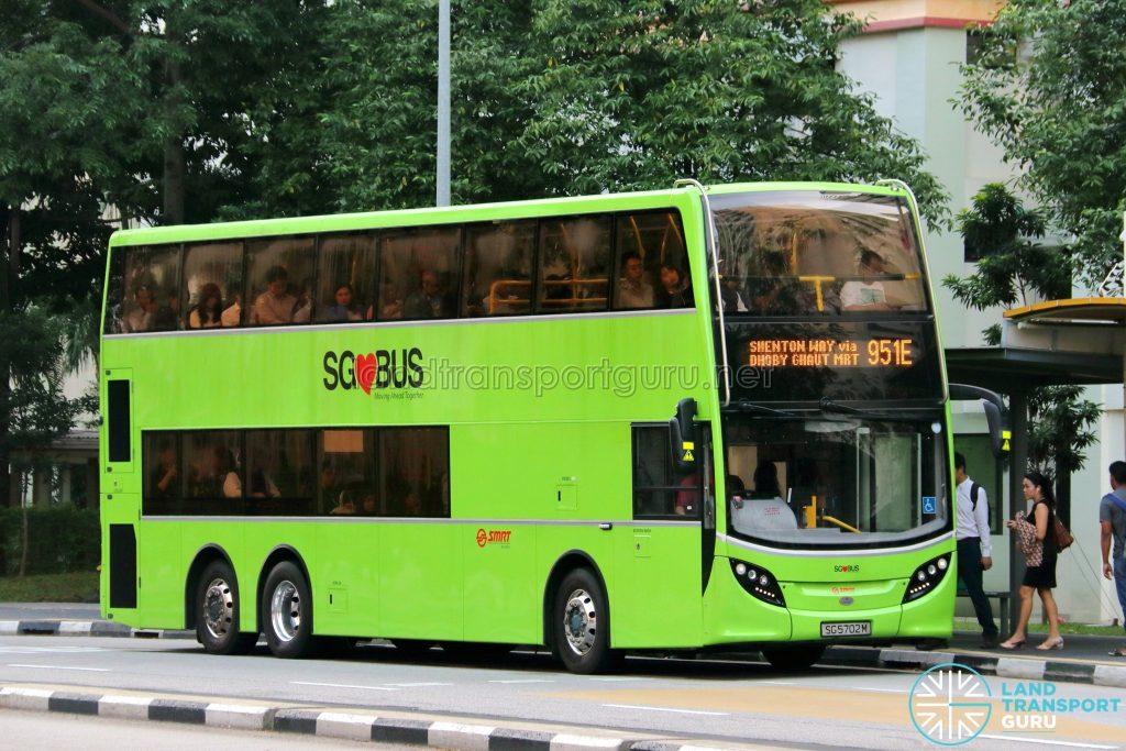 Service 951E - SMRT Buses Alexander Dennis Enviro500 (SG5702M)