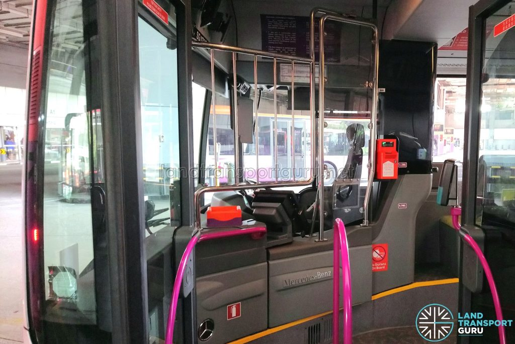 Driver protective screen on SBS Transit Mercedes-Benz Citaro
