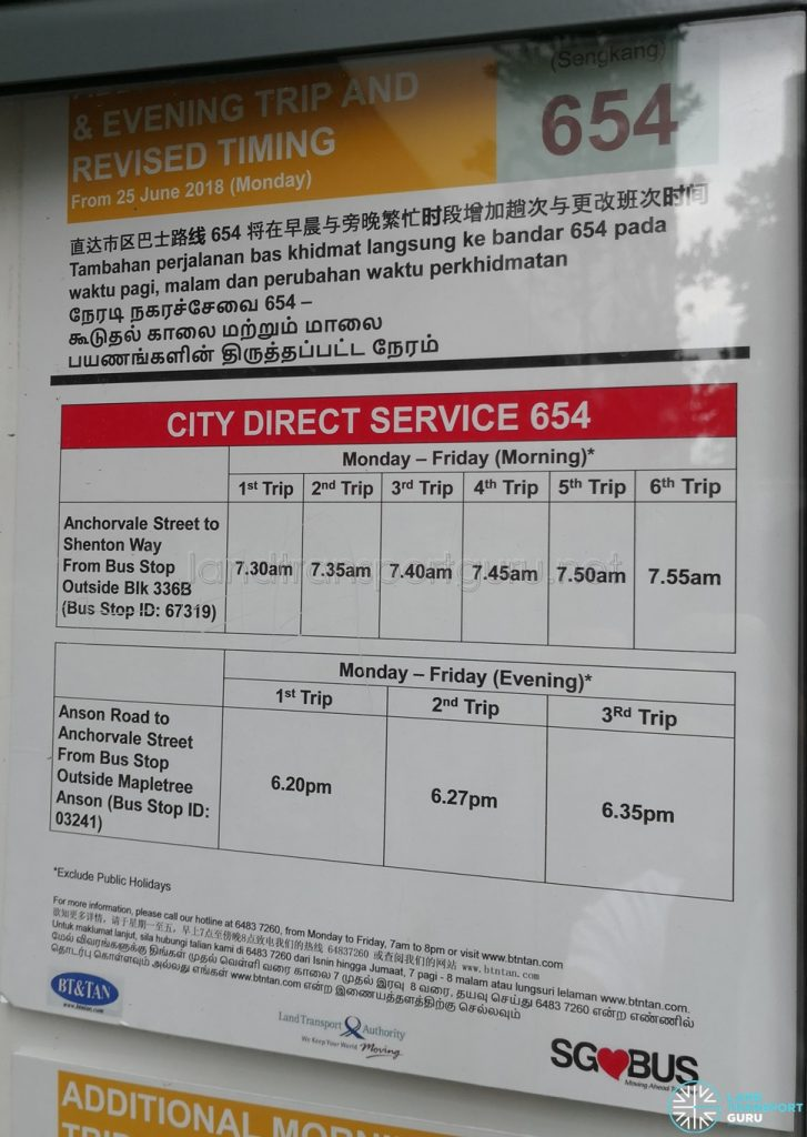 Additional Morning & Evening Trip & Revised Timing for City Direct 654 Poster