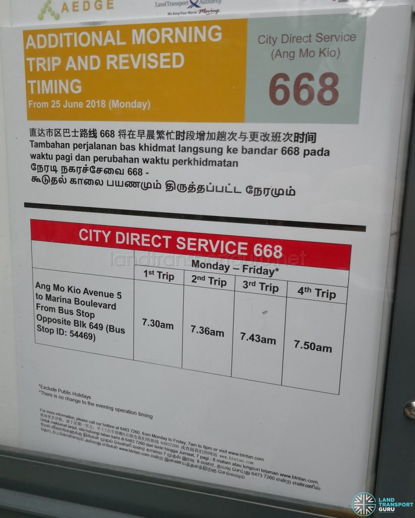 Additional Morning Trip & Revised Timing for City Direct 668 Poster