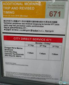 Additional Morning Trip & Revised Timing for City Direct 671 Poster