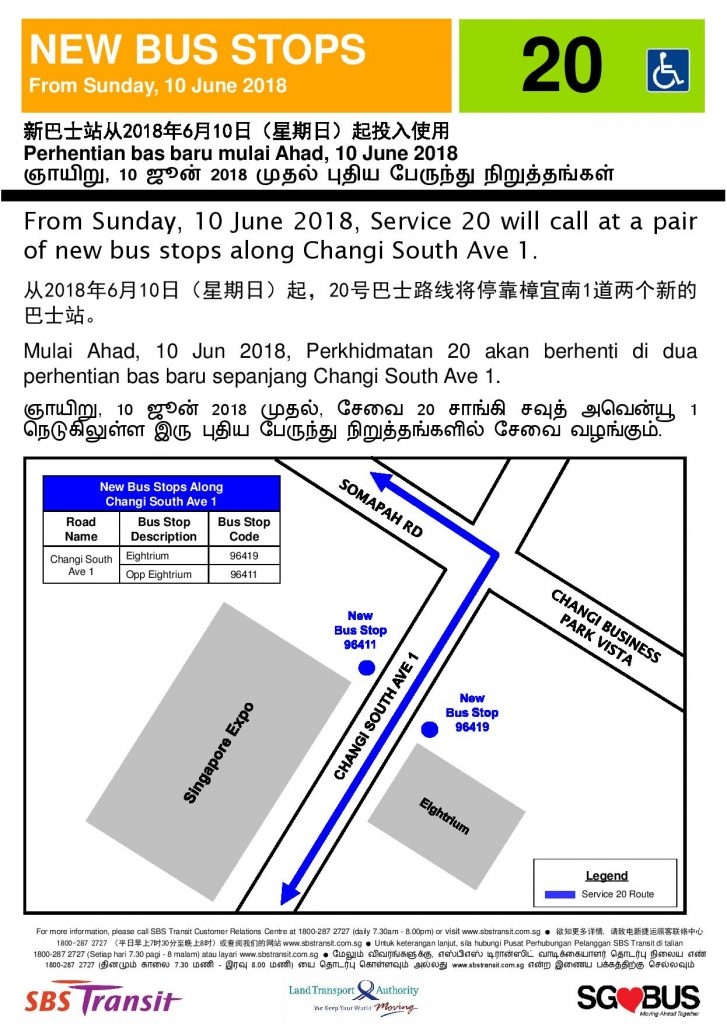 New Bus Stop for Bus Service 20 along Changi South Avenue 1