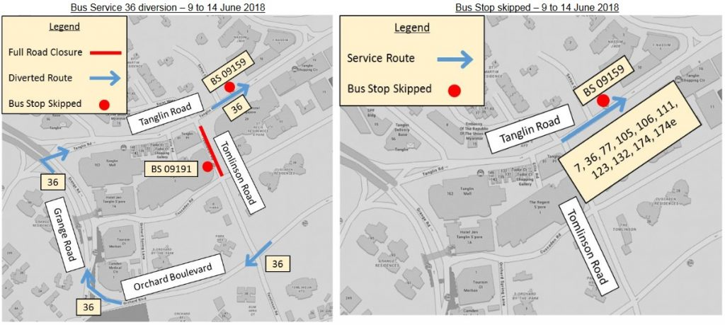 Bus Service Diversions for Singapore Summit between USA & DPRK
