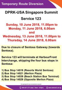 [Withdrawn] SBS Transit Bus Service 123 Bus Stops Skipped Poster for DPRK - USA Singapore Summit
