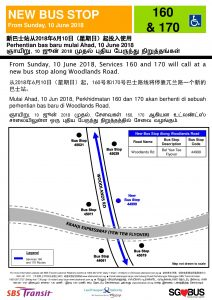 New Bus Stop for Bus Services 160 & 170 along Woodlands Road