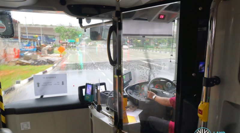 Driver protective screen on SMRT MAN A95