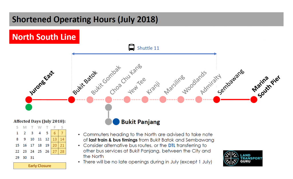 NSL Shortened Operating Hours (July 2018)