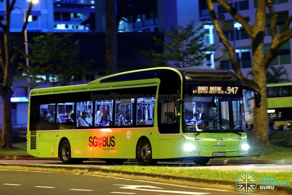 Service 947 - Tower Transit MAN A22 (SMB3018R)