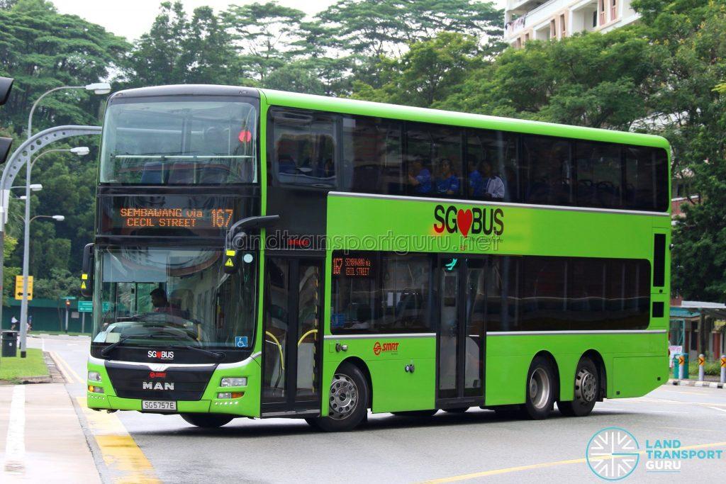 Service 167 - SMRT Buses MAN A95 (SG5757E)
