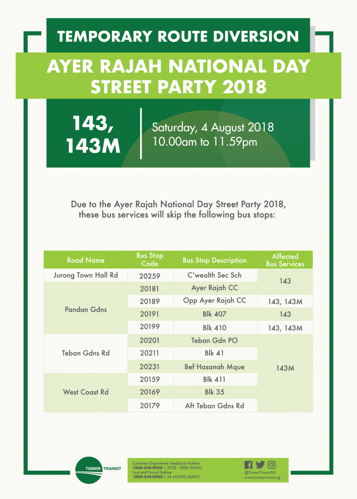 Tower Transit Poster for Ayer Rajah National Day Street Party 2018