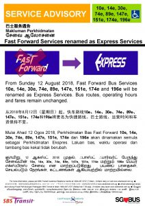 SBS Transit Poster for Fast Forward renaming to Express