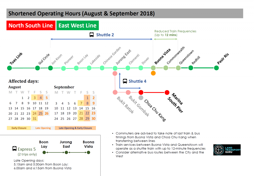 NSL and EWL Shortened Operating Hours (August-September 2018)