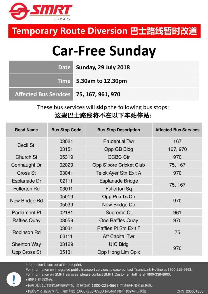 SMRT Buses Bus Diversion Poster for Car-Free Sunday Jul 2018
