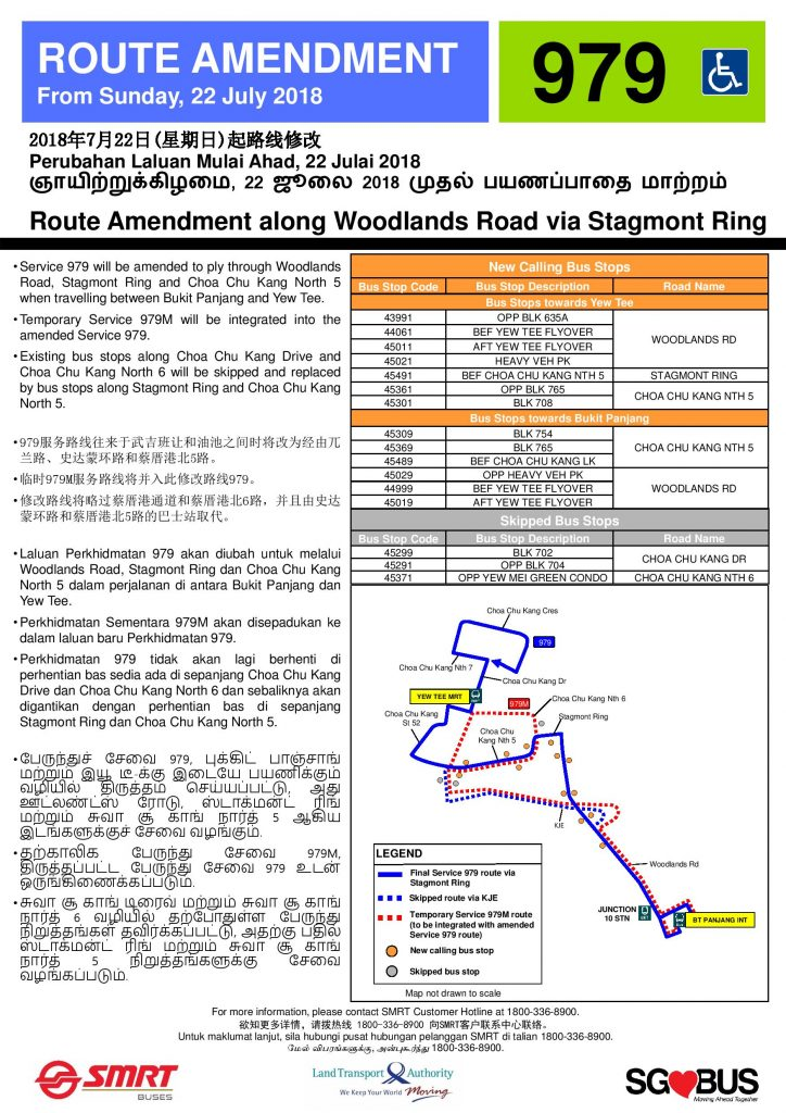 SMRT Buses Poster for Service 979 Amendment & 979M Withdrawal