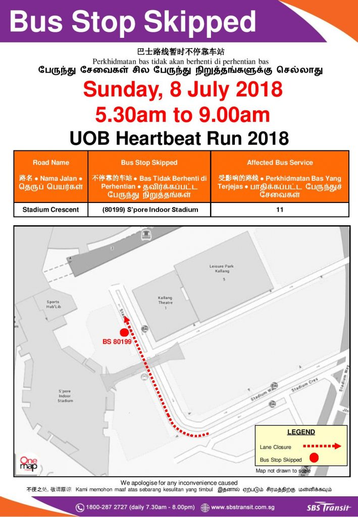SBS Transit Poster for UOB Heartbeat Run 2018