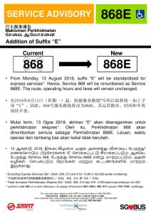 SMRT Buses Poster for 868 renumbering to 868E