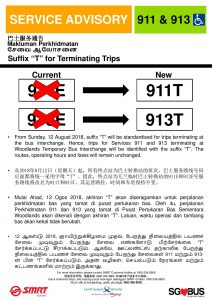 SMRT Buses Service Advisory for Service 911T & 913T