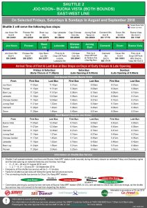 Shuttle 2 (Joo Koon – Buona Vista) Departure Timings from Stations [Updated]