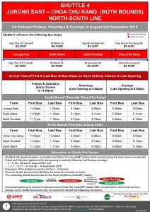 Shuttle 4 (Jurong East – Choa Chu Kang) Departure Timings from Stations [Updated]