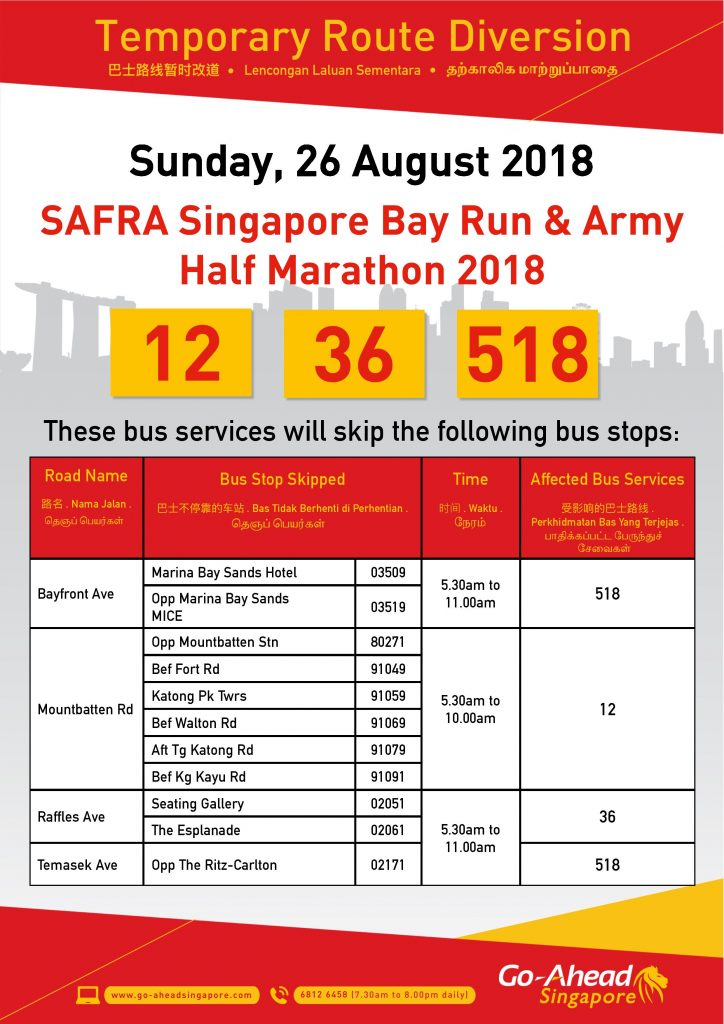 Go-Ahead Singapore Poster for SAFRA Singapore Bay Run & Army Half Marathon 2018