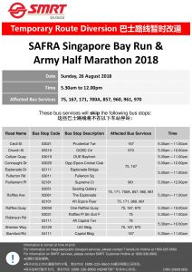 SMRT Buses Poster for SAFRA Singapore Bay Run & Army Half Marathon 2018