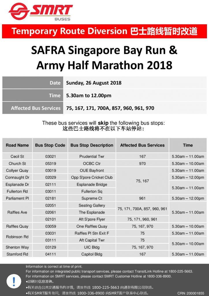 SMRT Buses Poster for SAFRA Singapore Bay Run & Army Half Marathon 2018