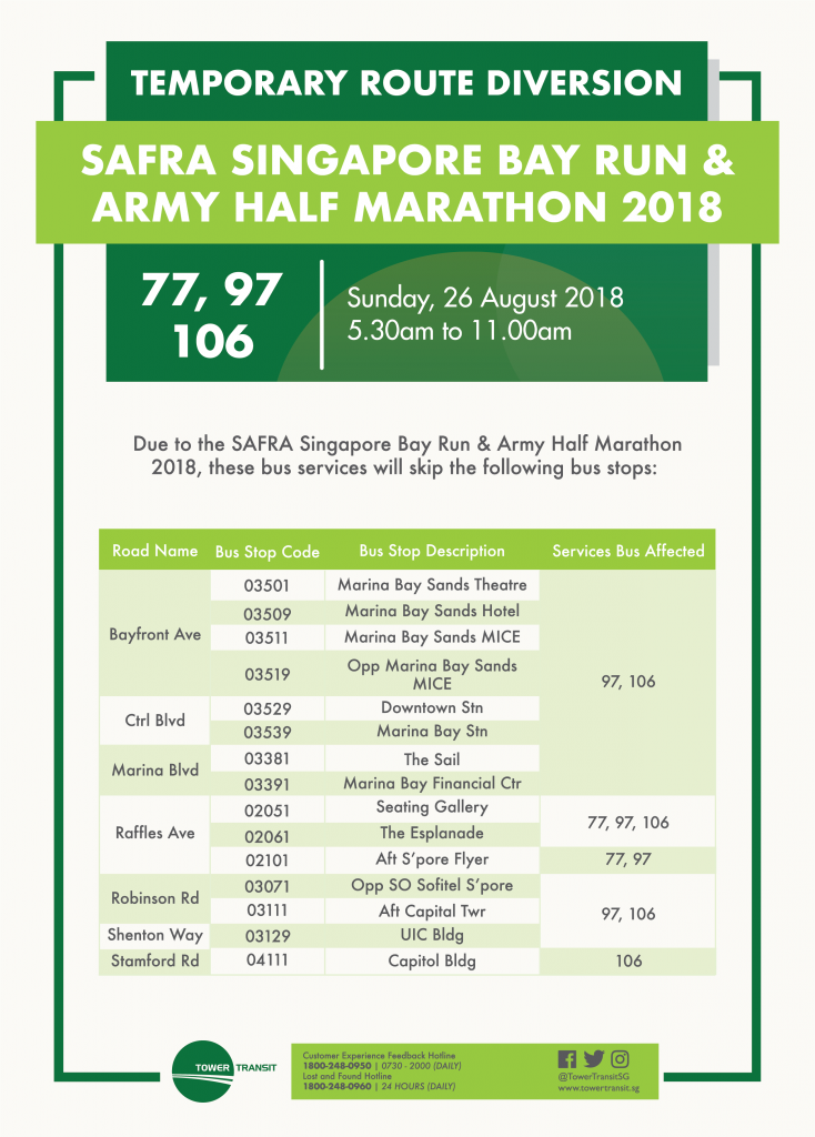 Tower Transit Poster for SAFRA Singapore Bay Run & Army Half Marathon 2018