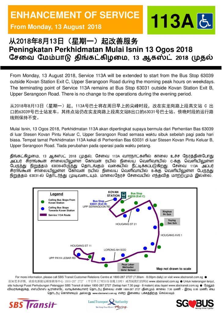 Enhancement of Short Trip Service 113A