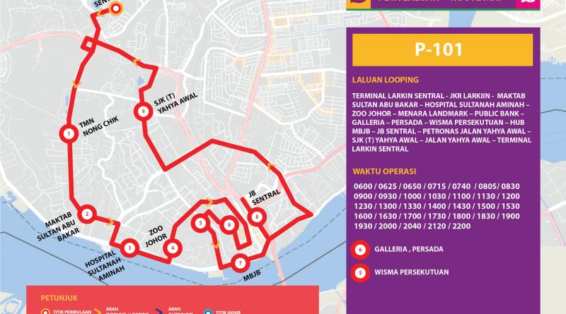Bas Muafakat Johor P101 - Route Map